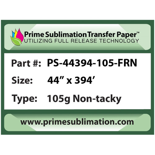 "Prime Sublimation Full Release Non-TackyTransfer Paper 105g 44"" x 394'"