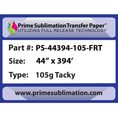 "Prime Sublimation Full Release Tacky Transfer Paper 105g 44"" x 394'"