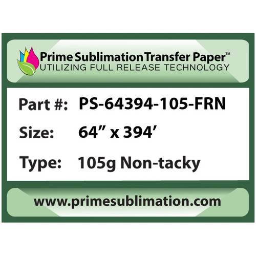 "Prime Sublimation Full Non-Tacky Release Transfer Paper 105g 64"" x 394'"