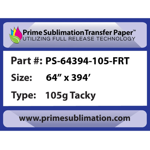 "Prime Sublimation Full Release Tacky Transfer Paper 105g 64"" x 394'"