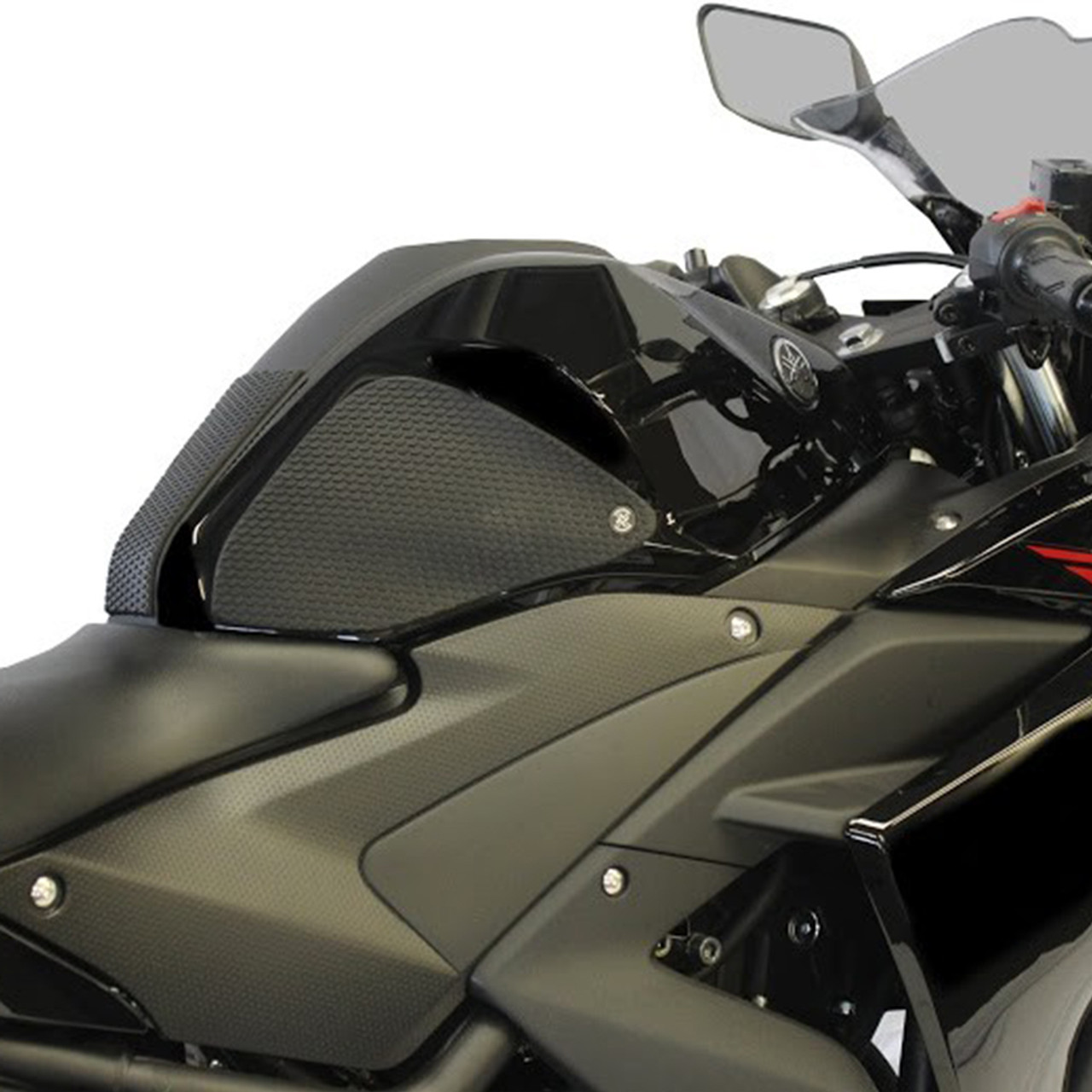 Black Stompgrip Motorcycle Traction Pads for 15-18 Yamaha YZF-R3