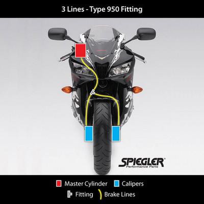 Spiegler Kawasaki Z125 PRO 17-19 Front & Rear Brake Line Kit (orig  routing)