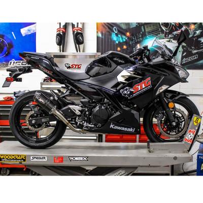 M4 Kawasaki Ninja 400 2018 2019 Full Exhaust X96 Carbon Canister