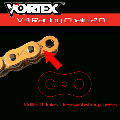 Gold 120 Links Vortex 520 SX3 V3 2.0 Chain