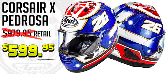 Save Up To $380 on Arai Corsair X Helmets at STG