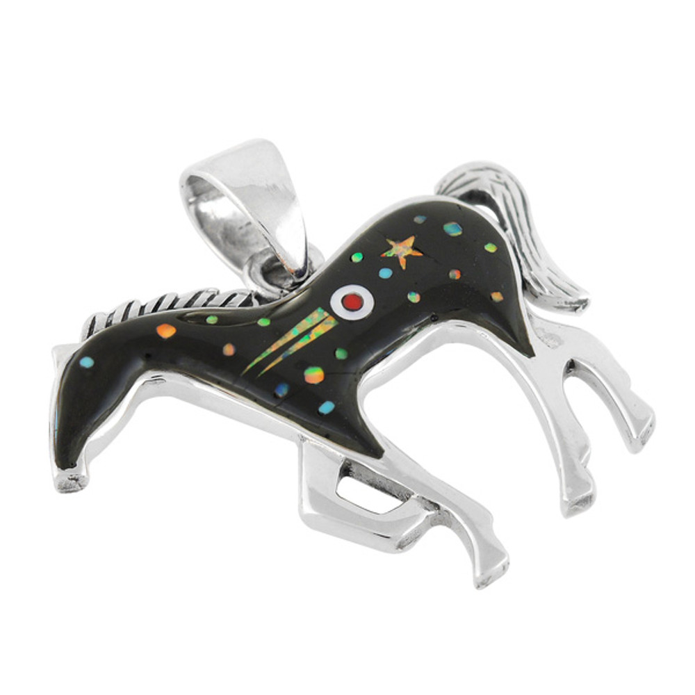 Horse Jewelry Pendant Sterling Silver Black & Opal P3049-SM-C27
