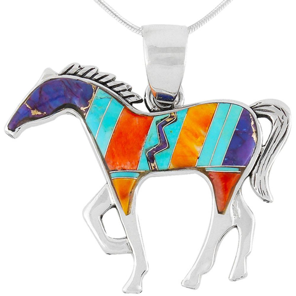 Horse Jewelry Pendant Sterling Silver Multi Gemstone P3049-SM-C30