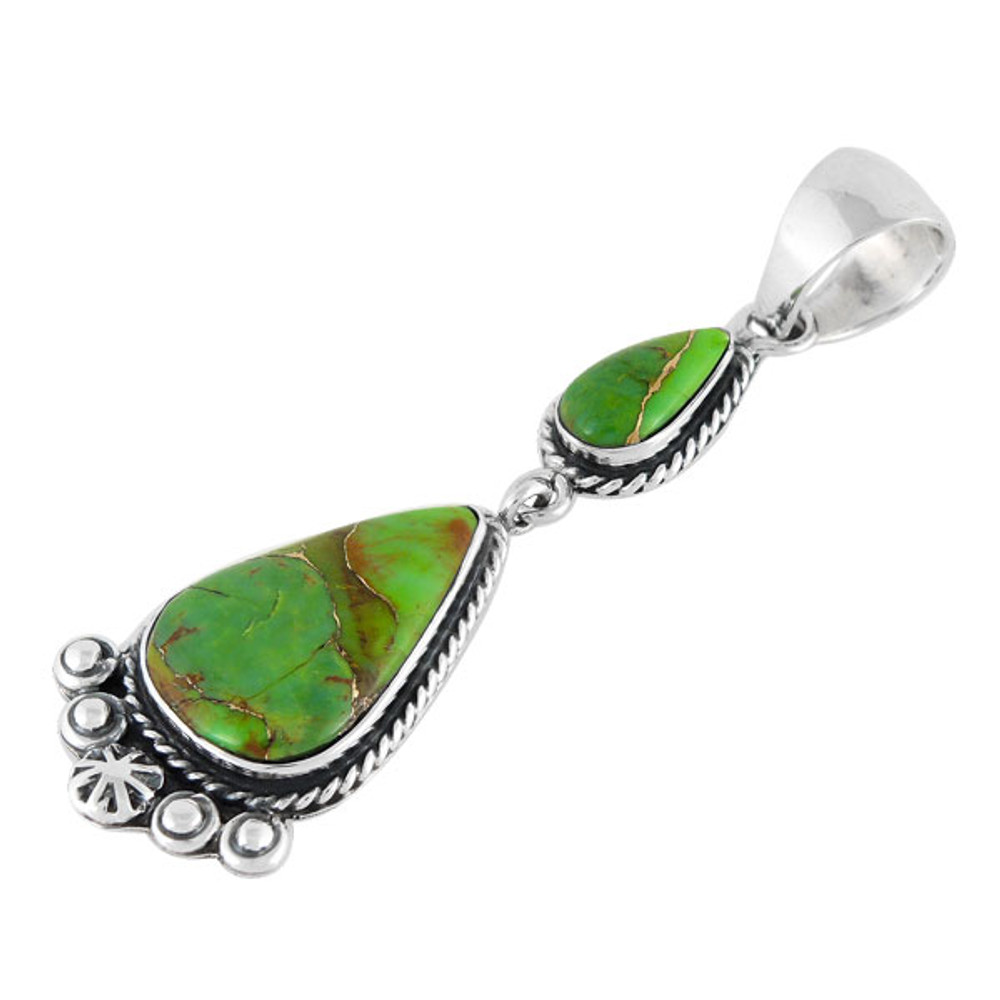 Sterling Silver Dangle Pendant Green Turquoise P3061-C76