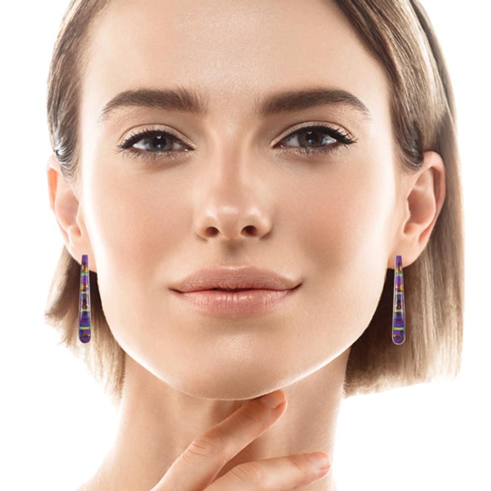 Sterling Silver Earrings Purple Turquoise E1031-C23