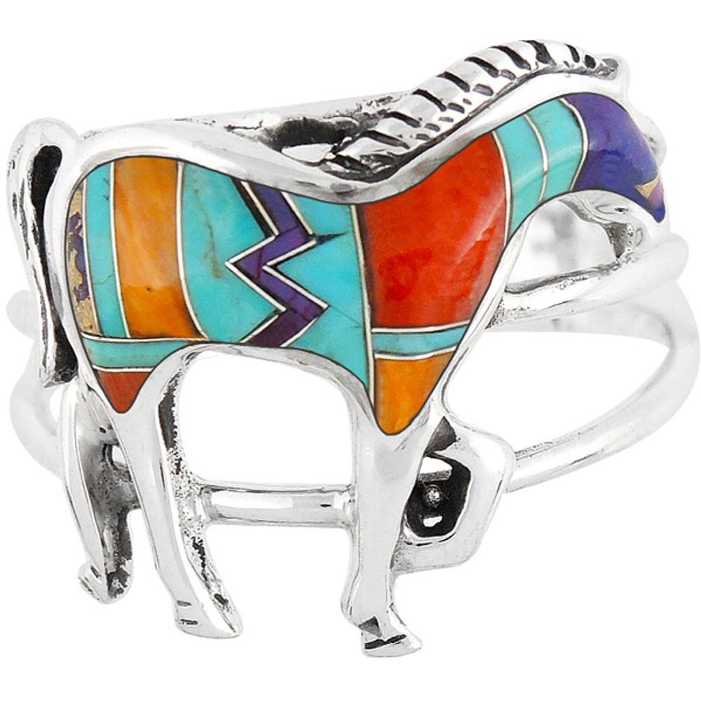 Horse Ring Sterling Silver Multi Gemstone R2018-C30