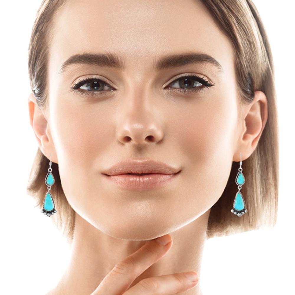 Turquoise Drop Earrings Sterling Silver E1107-C75