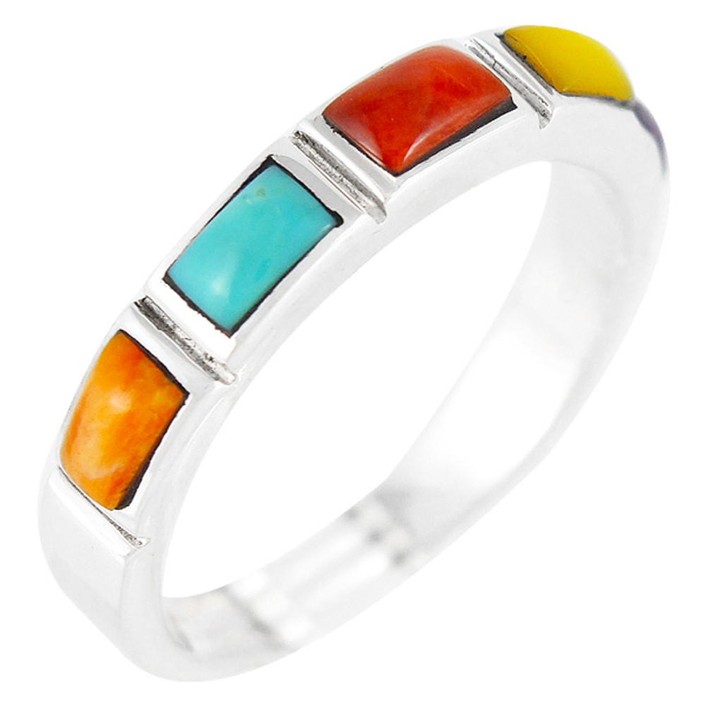 Multi Gemstone Stackable Ring Sterling Silver R2232-C71