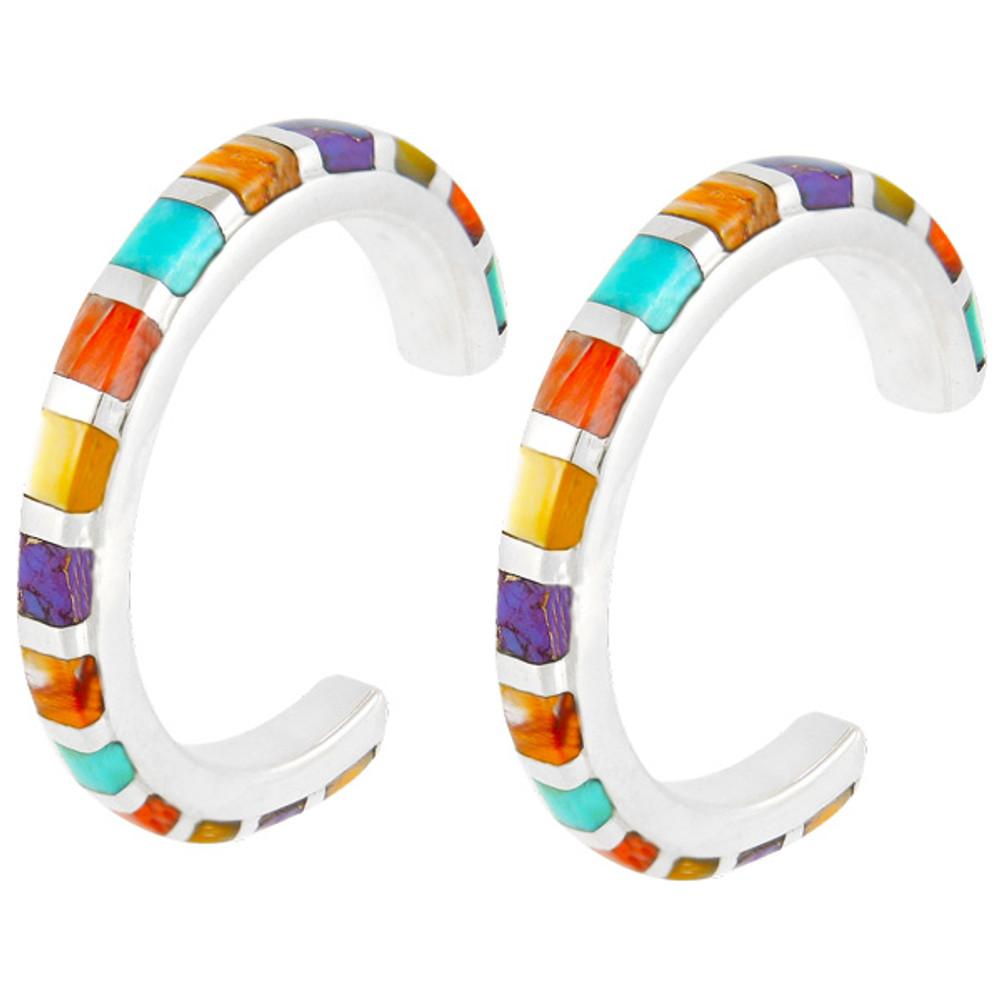 Sterling Silver Hoop Earrings Multi Gemstones E1122-C01
