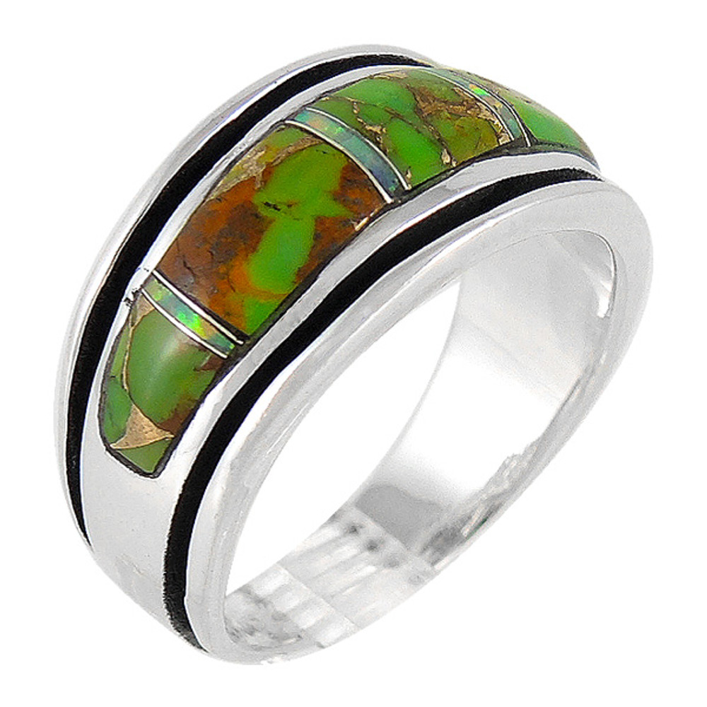 Green Turquoise Ring Sterling Silver R2024-C22