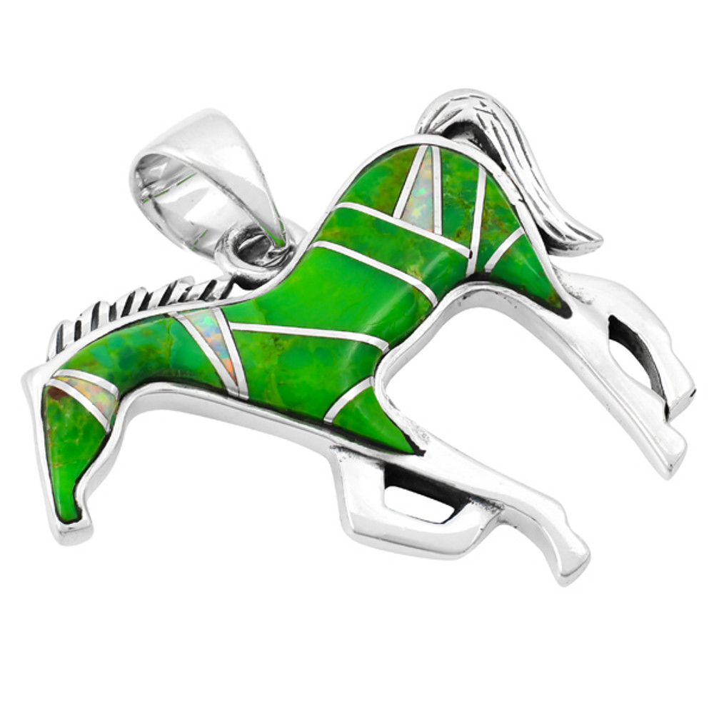 Horse Jewelry Pendant Sterling Silver Green Turquoise P3049-SM-C22