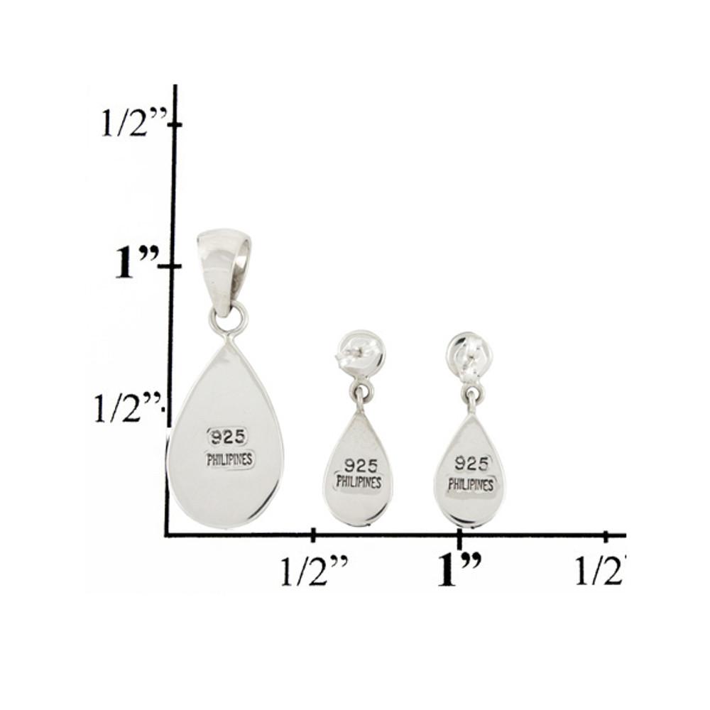 Sterling Silver Pendant & Earrings Set Turquoise PE4023-SM-C05