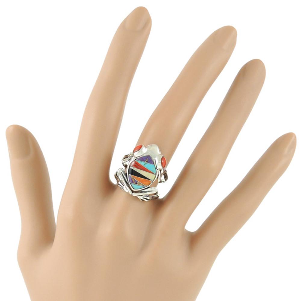 Frog Ring Sterling Silver Multi Gemstone R2266-C01
