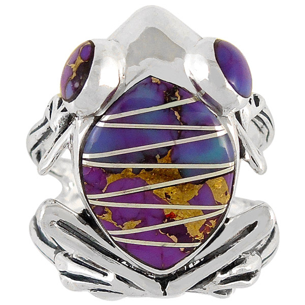 Frog Ring Sterling Silver Purple Turquoise R2266-C07