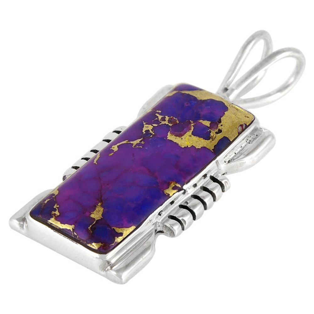 Sterling Silver Pendant Purple Turquoise P3044-LG-C77