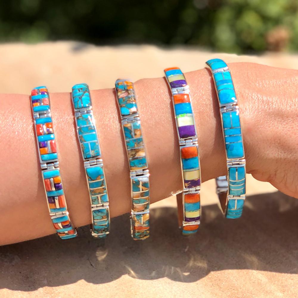 Turquoise Link Bracelet Sterling Silver B5518-C05