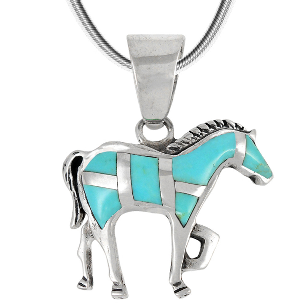 Sterling Silver Horse Pendant Turquoise P3109-C05