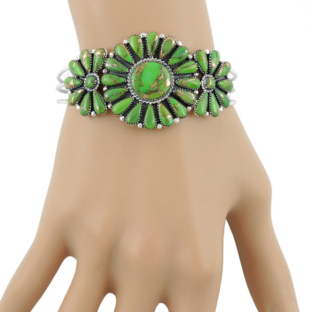 Green Turquoise Bracelet Sterling Silver B5523-C76