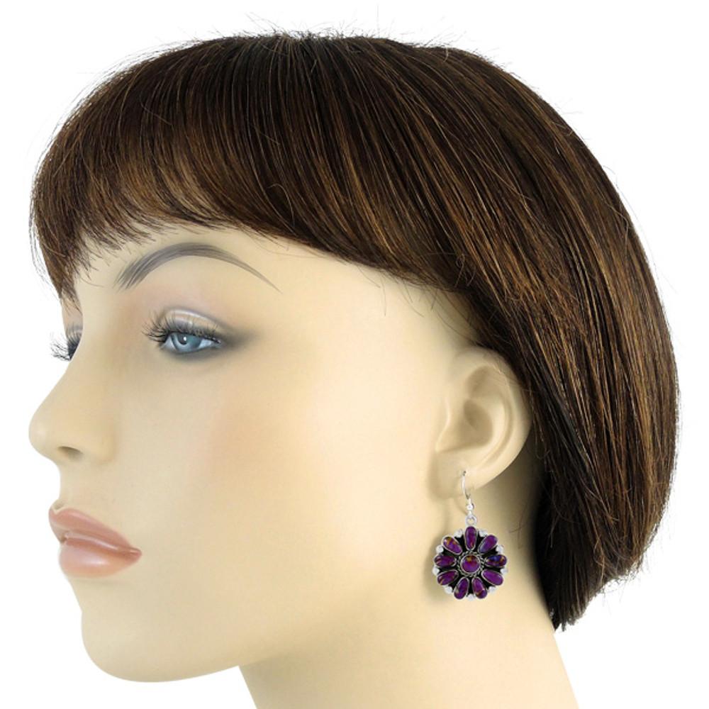 Sterling Silver Flower Earrings Purple Turquoise E1112-C77