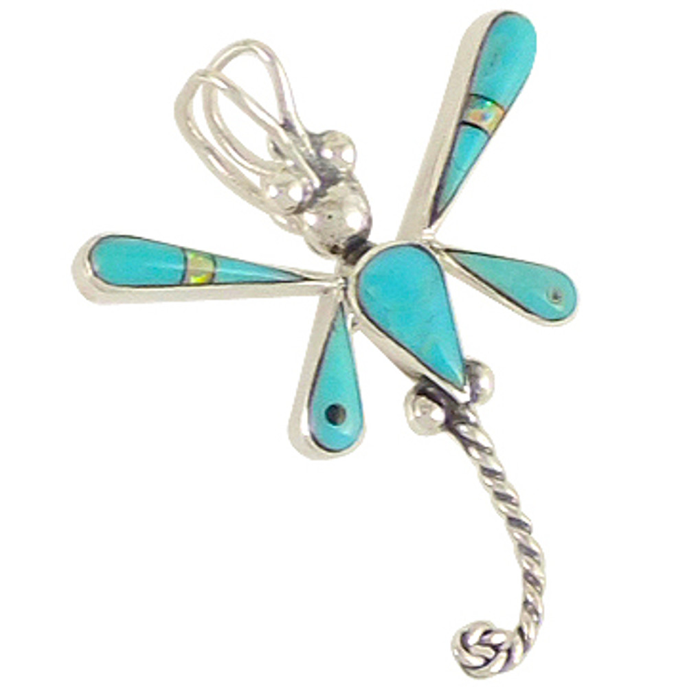 Sterling Silver Dragonfly Pendant Turquoise P3054-C21