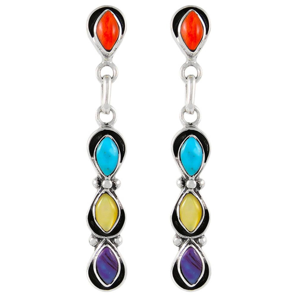 Sterling Silver Earrings Multi Gemstones E1179-C71