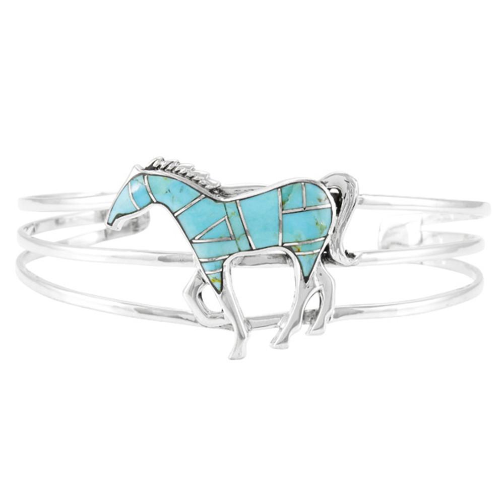 Sterling Silver Horse Bracelet Turquoise B5530-C05
