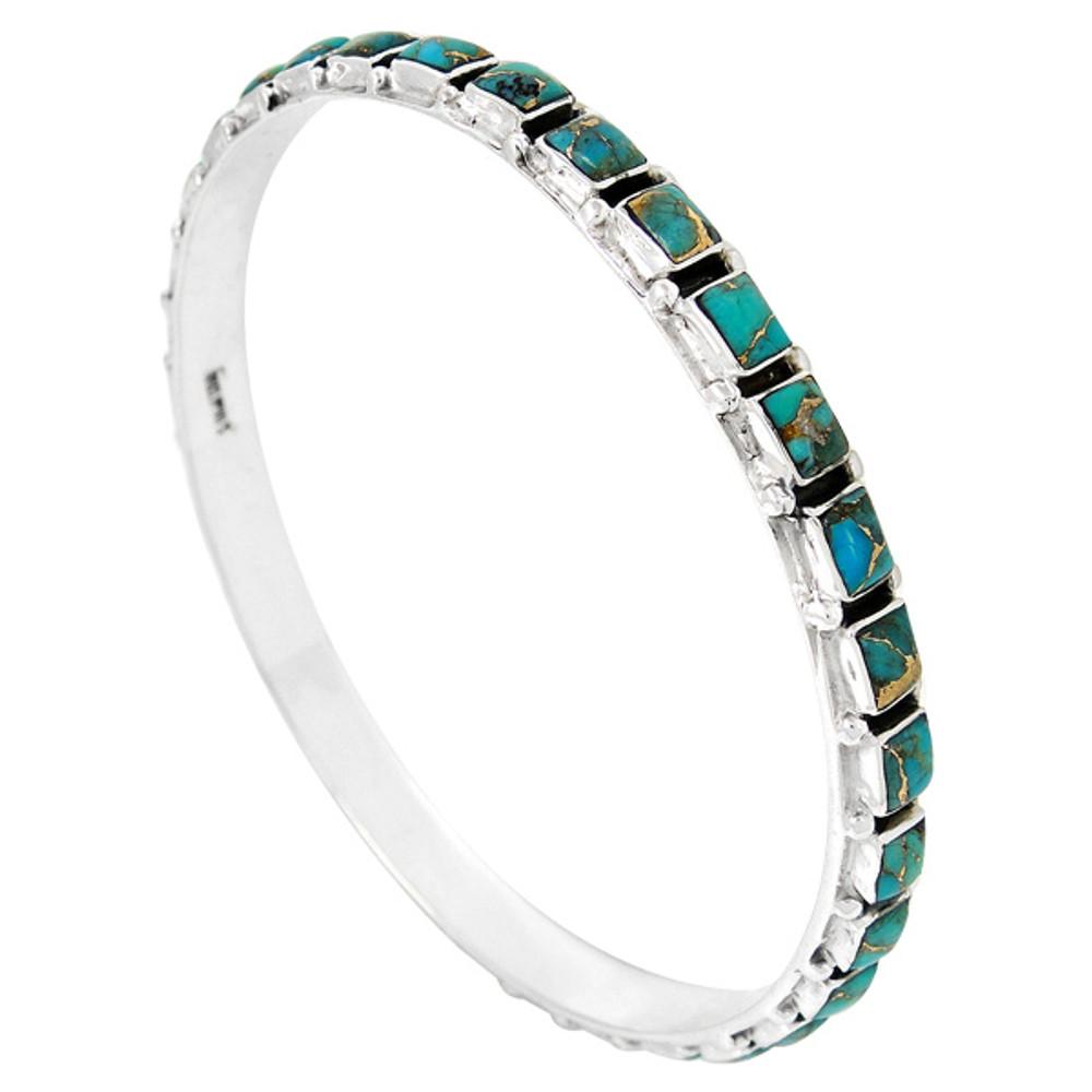 Gemstone Stackable Bangle Bracelet Sterling Silver B5529