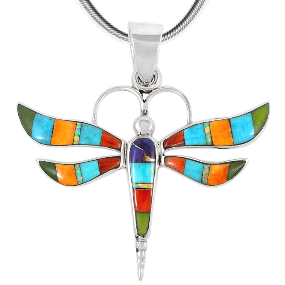 Sterling Silver Dragonfly Pendant Multi Gemstone P3138-C01