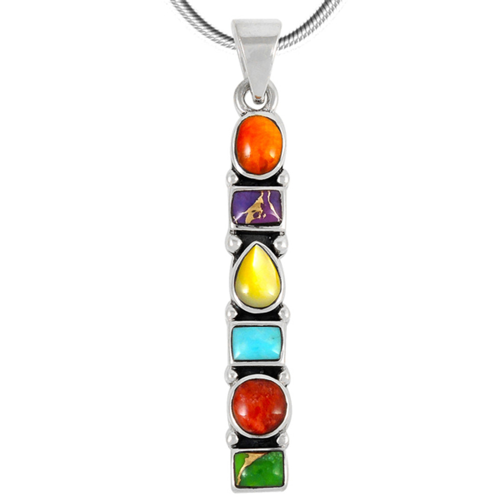 Sterling Silver Pendant Multi Gemstone P3140-C71