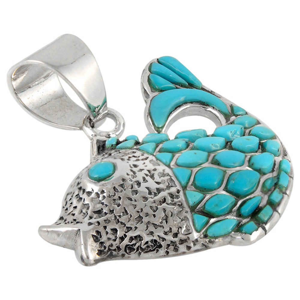 Sterling Silver Fish Pendant Turquoise P3161-C05