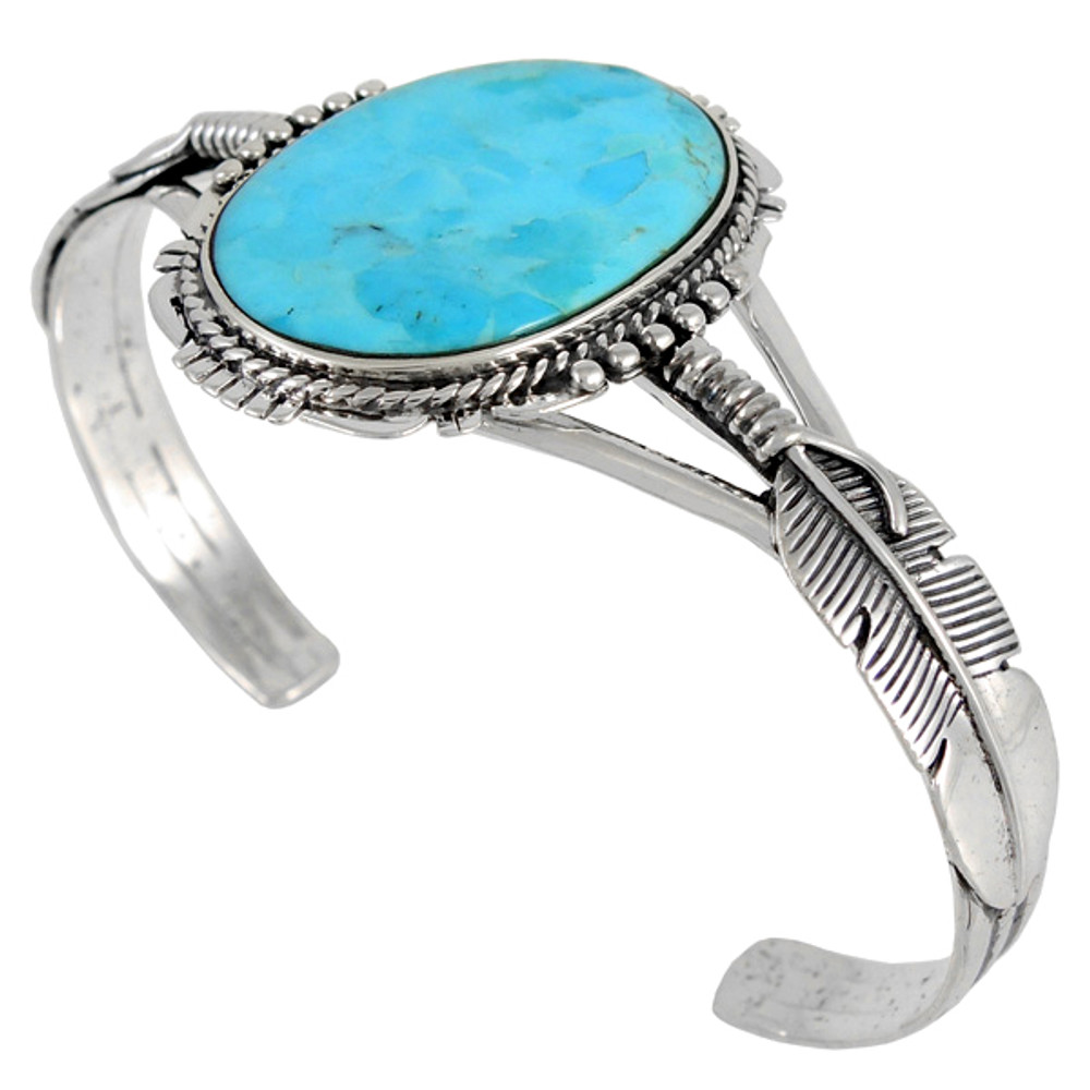 Sterling Silver Feather Bracelet Turquoise B5550-C75