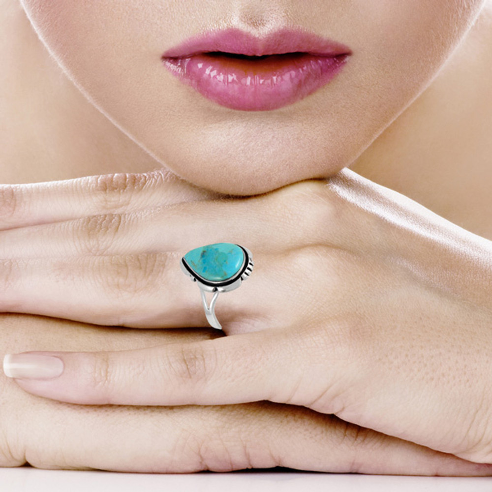 Turquoise Ring Sterling Silver R2317-C75
