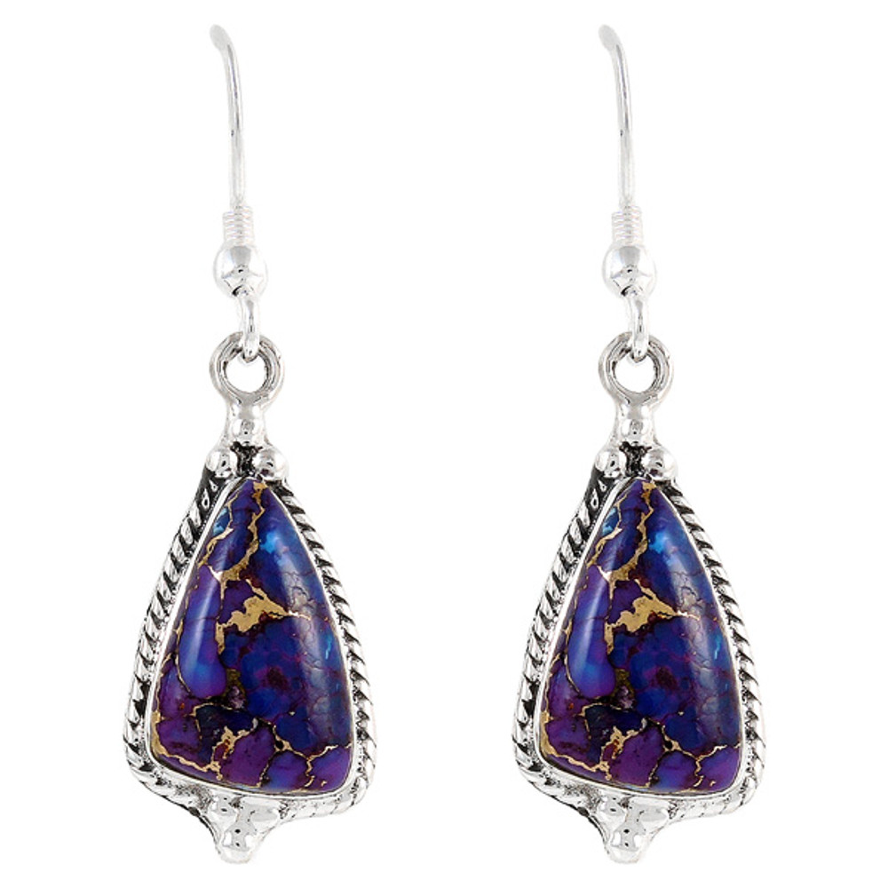 Sterling Silver Earrings Purple Turquoise E1065-SM-C77