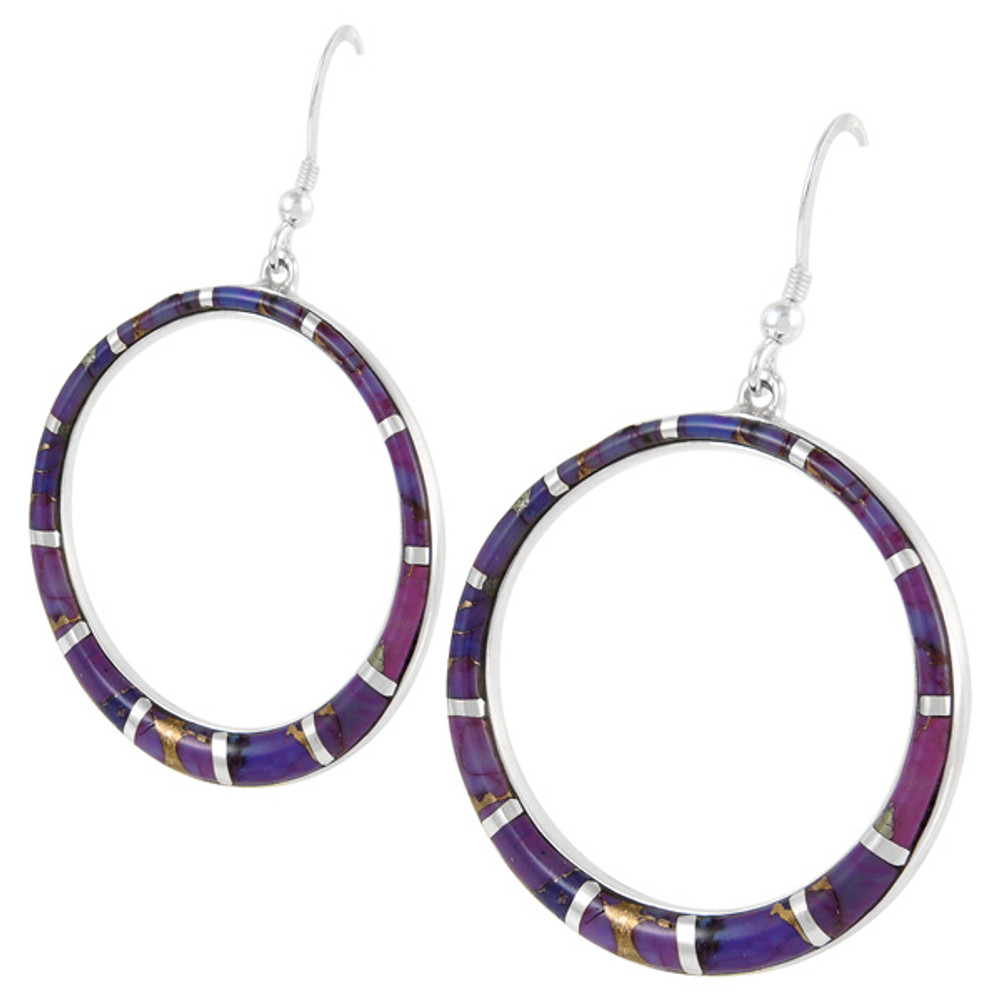 Sterling Silver Earrings Purple Turquoise E1187-C07
