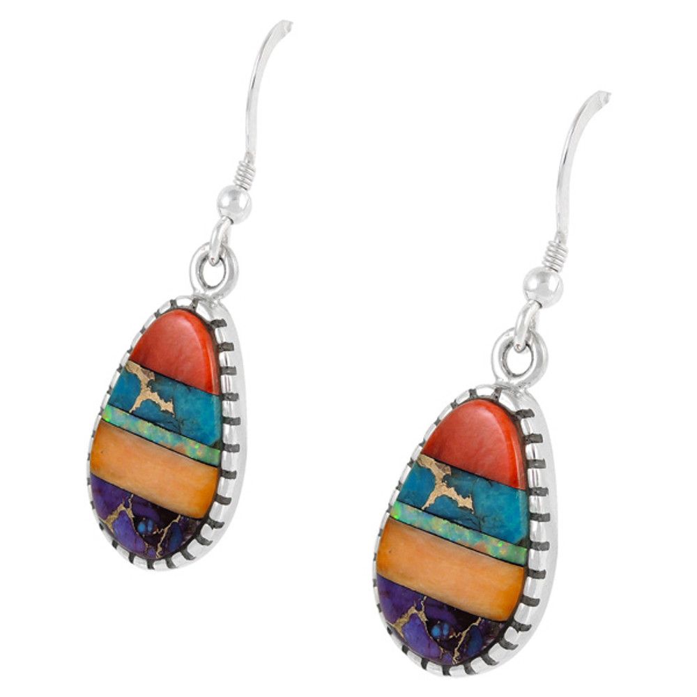Sterling Silver Earrings Multi Gemstone E1224-C01