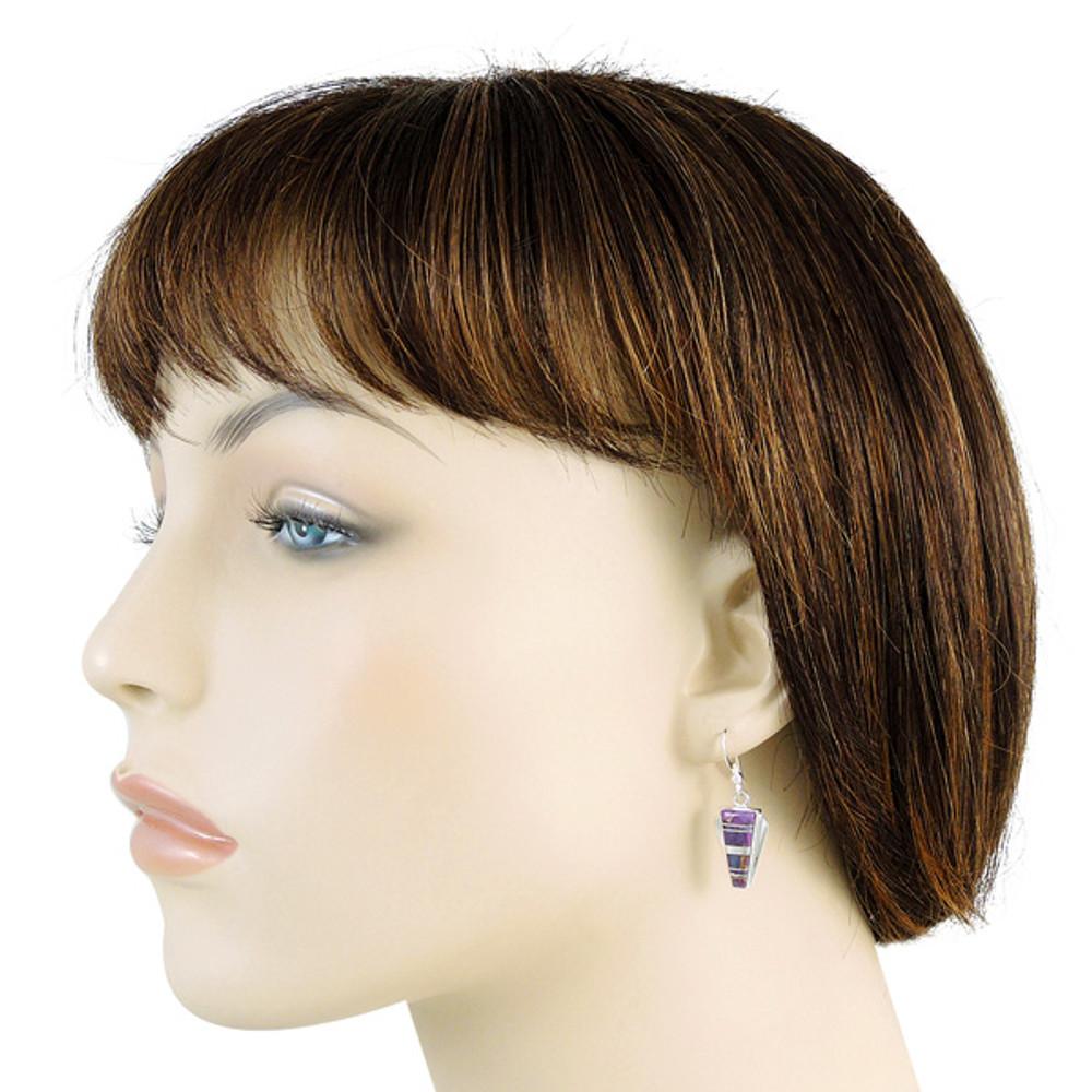 Sterling Silver Earrings Purple Turquoise E1227-C07