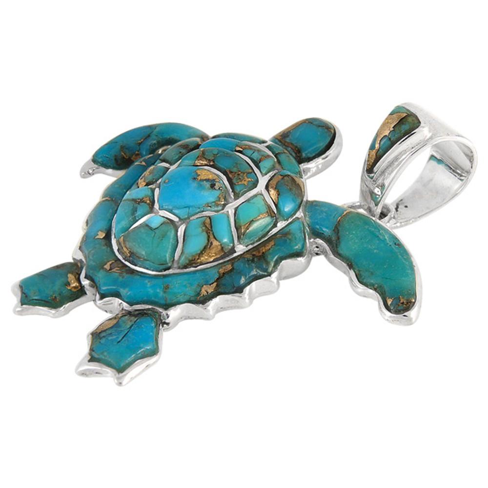 Sterling Silver Turtle Pendant Matrix Turquoise P3180-C84
