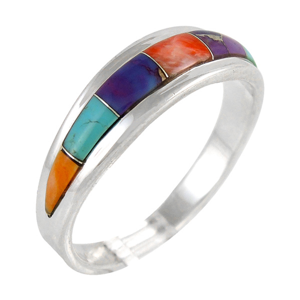 Multi Gemstone Ring Sterling Silver Turquoise R2264-C01