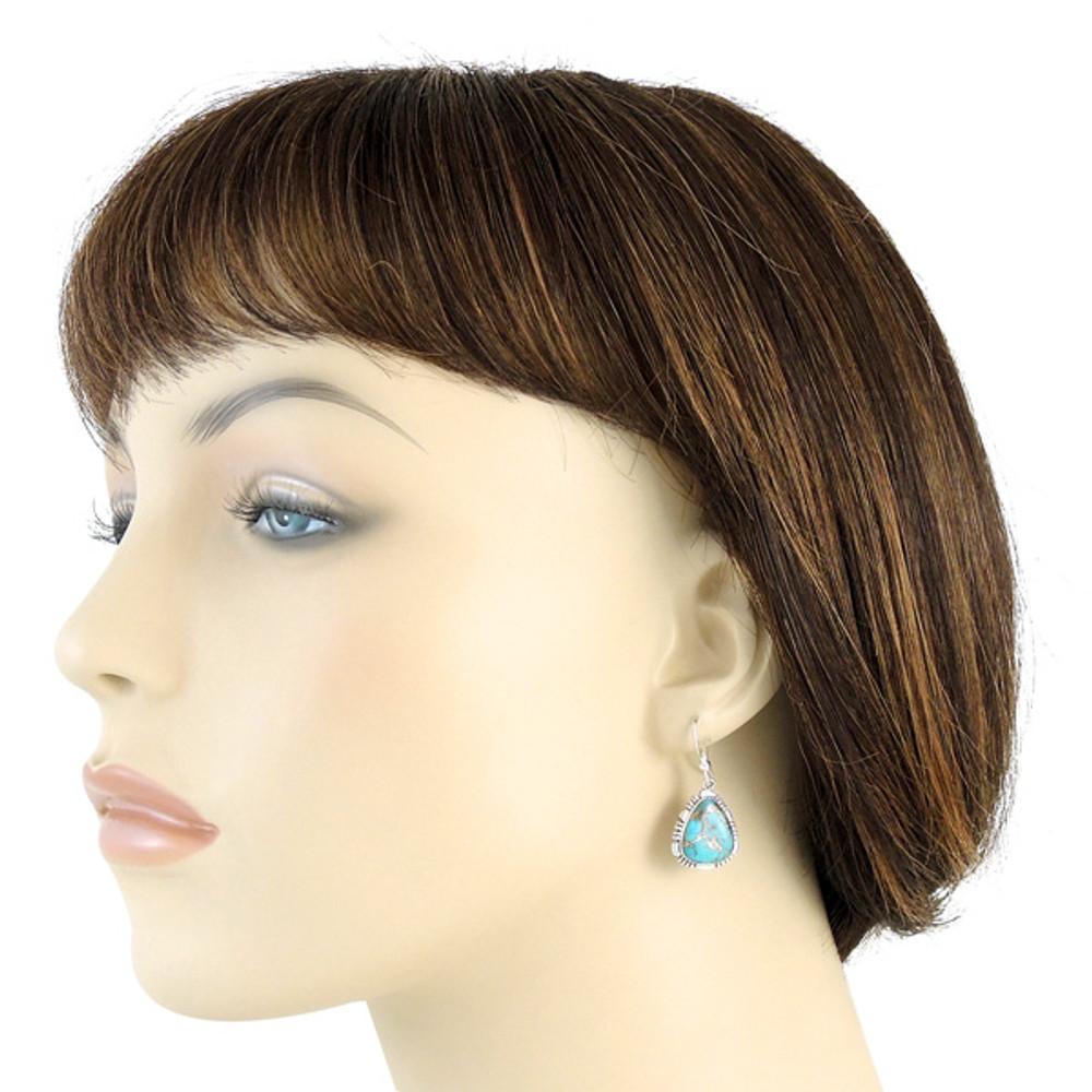 Sterling Silver Earrings Matrix Turquoise E1157-SM-C84