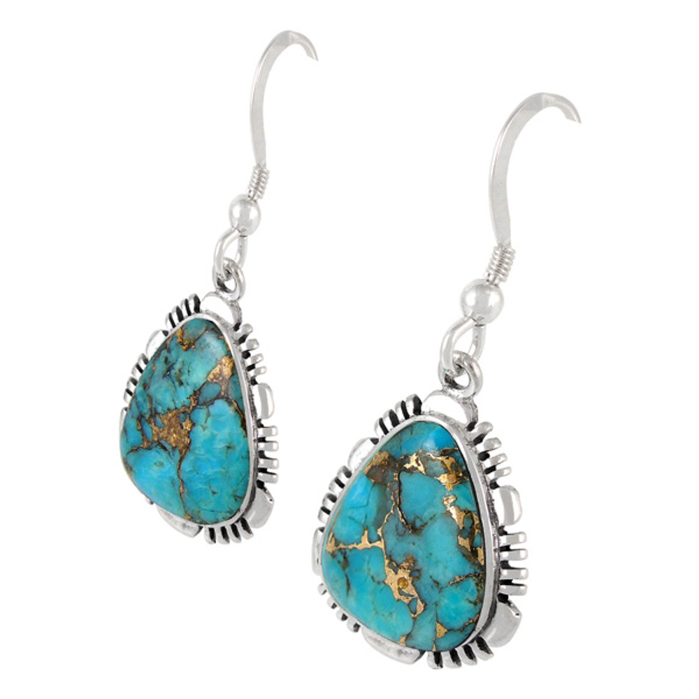 Sterling Silver Earrings Matrix Turquoise E1157-SM-C84