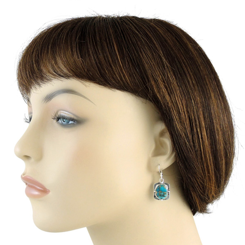 Sterling Silver Earrings Matrix Turquoise E1235-C84