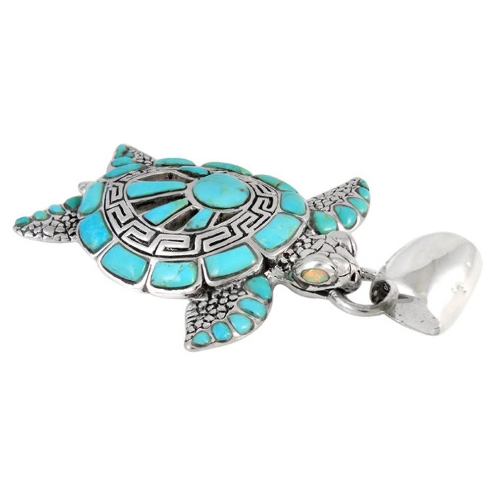 Sterling Silver Turtle Pendant Turquoise P3183-C05