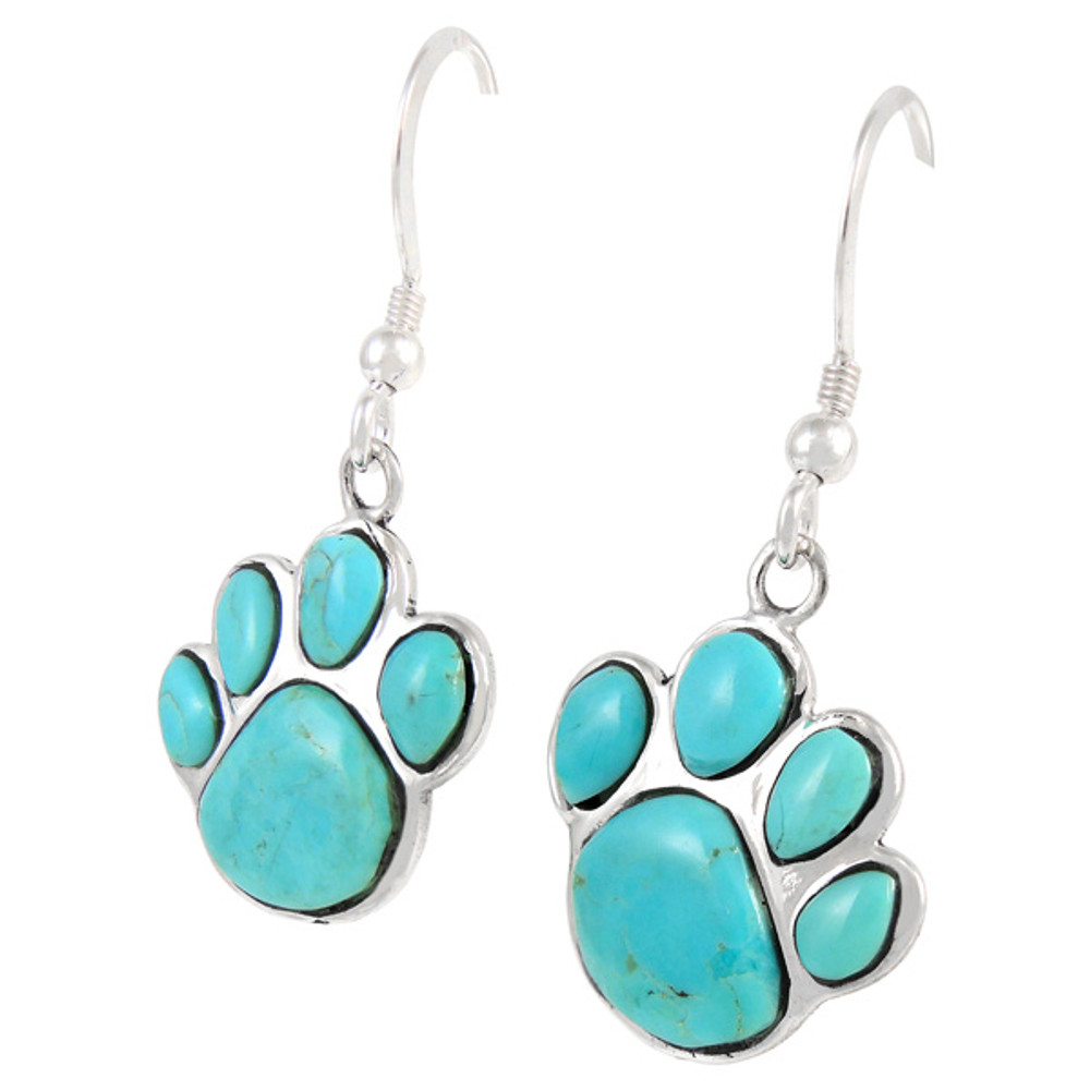 Sterling Silver Paw Earrings Turquoise E1240-C75