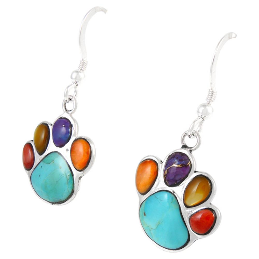 Sterling Silver Paw Earrings Multi Gemstones E1240-C71