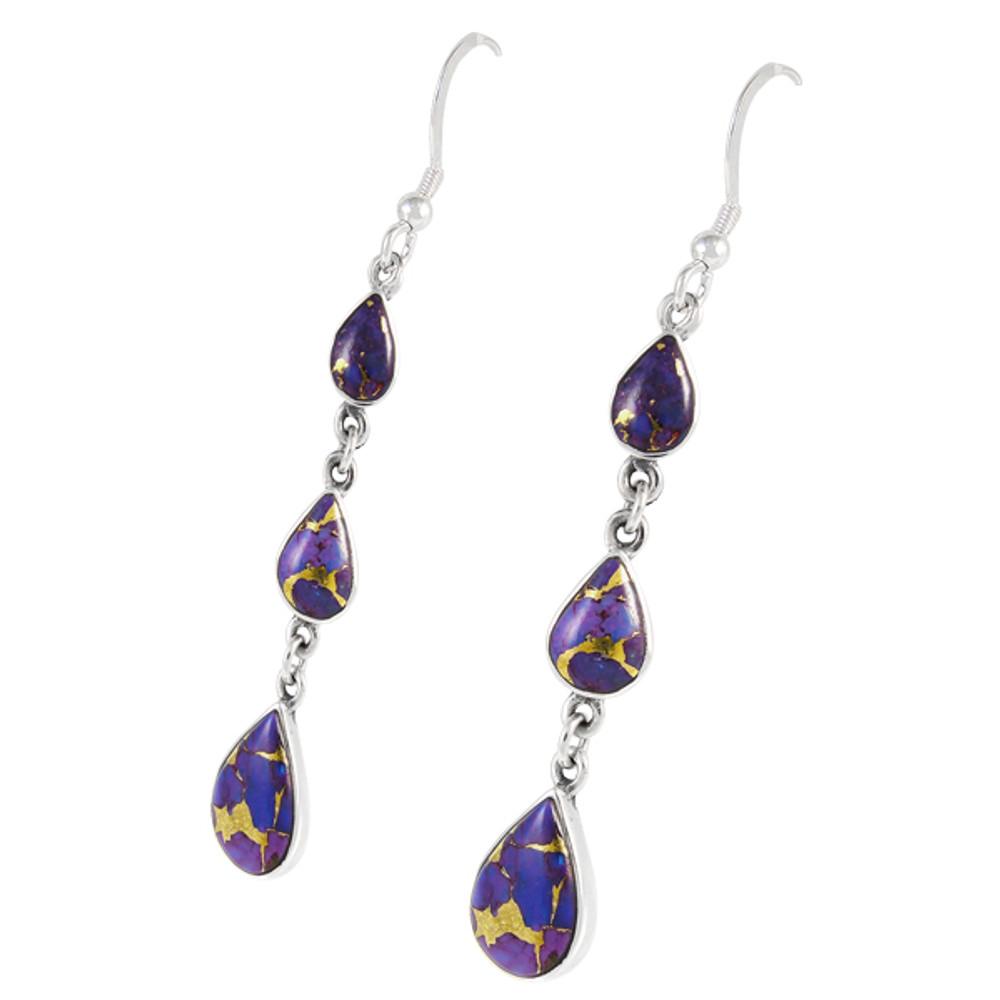 Sterling Silver Chandelier Earrings Purple Turquoise E1241-C77