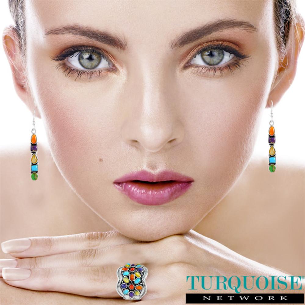 Sterling Silver Earrings Multi Gemstones E1243-C72